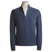 Scott Barber Vintage-Dyed Cotton Sweater - Mock Zip (For Men) in Blue - Closeouts