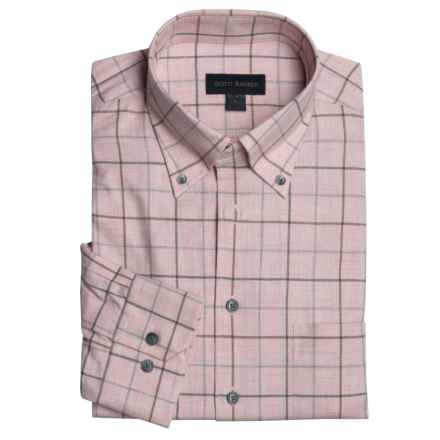 Scott Barber Windowpane Sport Shirt - Cotton, Long Sleeve (For Men) in Pink - Closeouts