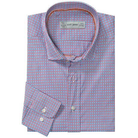 Scott James Heath Micro-Check Sport Shirt - Long Sleeve (For Men) in Blue