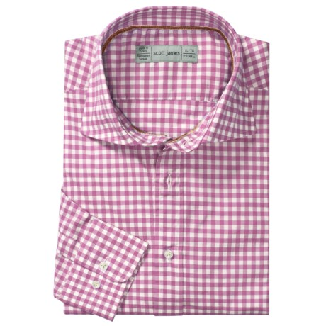 Scott James Hilton Gingham Sport Shirt - Long Sleeve (For Men) in Pink