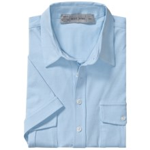 Scott James Kris Shirt - Stretch Cotton Knit, Short Sleeve (For Men) in Blue - Closeouts