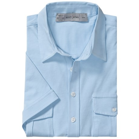 Scott James Kris Shirt - Stretch Cotton Knit, Short Sleeve (For Men) in Blue