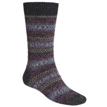 Scott Nichol by Pantherella Fair Isle Norwegian Weave Socks - Wool-Cashmere Blend (For Men) in Black/Grey/Cranberry Combo - Closeouts