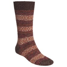 Scott Nichol by Pantherella Fair Isle Norwegian Weave Socks - Wool-Cashmere Blend (For Men) in Rust/Cream Combo - Closeouts