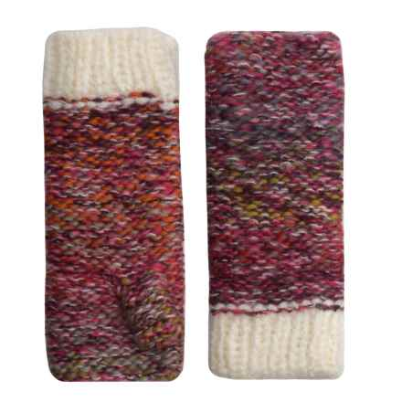 Screamer Chellene Fingerless Mittens - Wool Blend (For Women) in White/Plum - Closeouts