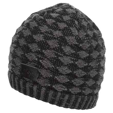 Screamer Diamond Waffle Beanie - Fleece Lined (For Men) in Black/Charcoal - Closeouts