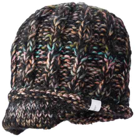 Screamer Katy Handknit Billed Beanie - Wool Blend (For Women) in Black/Charcoal/Melon - Closeouts