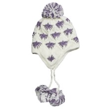 Screamer London Beanie Hat - Ear Flaps, Fleece Lining (For Women) in White/Purple - Closeouts