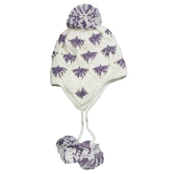 Screamer London Beanie Hat - Ear Flaps, Fleece Lining (For Women) in White/Purple