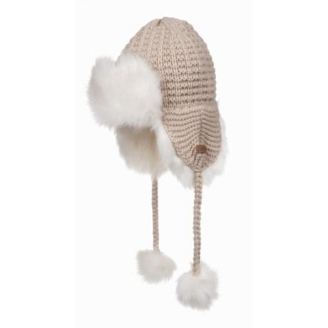 Screamer Magnolia Ear Flap Winter Hat - Fleece Lined (For Women) in Off White