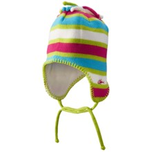 Screamer Poptart Beanie - Ear Flaps, Fleece Lined (For Little and Big Kids) in Green/Blue/Rose - Closeouts
