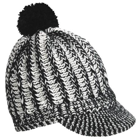 Screamer Powder Puff Billed Beanie Hat (For Women) in Black