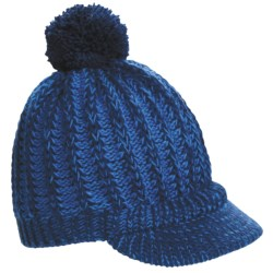 Screamer Powder Puff Billed Beanie Hat (For Women) in Navy