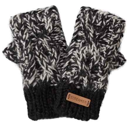 Screamer Robin Handknit Fingerless Mittens - Fleece Lined (For Women) in Black/Charcoal - Closeouts