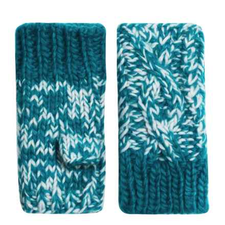 Screamer Robin Handknit Fingerless Mittens - Fleece Lined (For Women) in Teal/Light Blue - Closeouts