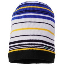 Screamer Slider Knit Beanie Hat (For Kids) in Black/Royal - Closeouts