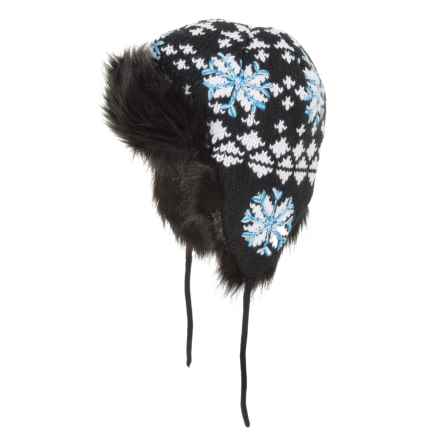 Screamer Snowflake Beanie - Ear Flaps (For Women) in 231 Black/White/Blue - Closeouts