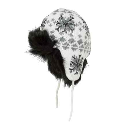 Screamer Snowflake Beanie - Ear Flaps (For Women) in White/Grey/Black - Closeouts