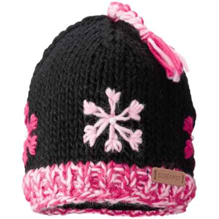 Screamer Snowflake Tassel Beanie - Fleece Lined (For Little and Big Kids) in Black - Closeouts