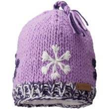 Screamer Snowflake Tassel Beanie - Fleece Lined (For Little and Big Kids) in Lilac - Closeouts