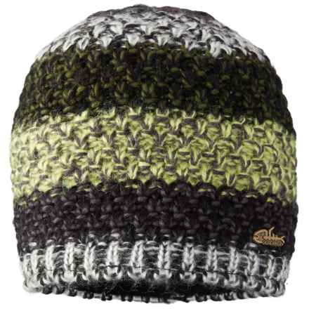 Screamer Twisted Fleece-Lined Beanie (For Men) in Black/Moss - Closeouts