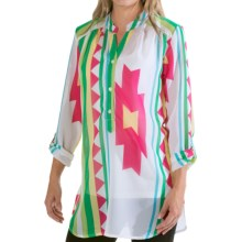 Scully Aztec Henley Shirt - Chiffon, 3/4 Sleeve (For Women) in Hot Pink - Closeouts