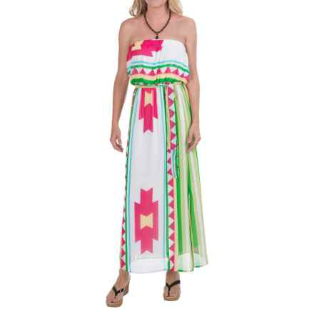Scully Aztec Maxi Dress - Chiffon, Tube Top (For Women) in Hot Pink - Closeouts