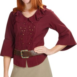 Scully Butterfly Girl Shirt - 3/4 Sleeve (For Women) in Burgandy