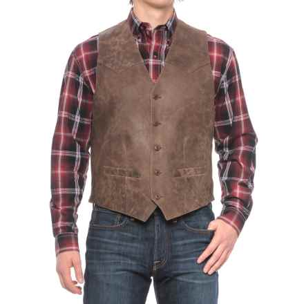 Scully Button-Front Vest - Lambskin (For Tall Men) in Brown - 2nds