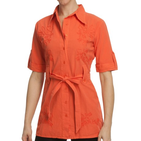 Scully Cantina Collection Tunic Shirt - Pima Cotton, 3/4 Sleeve (For Women) in Orange