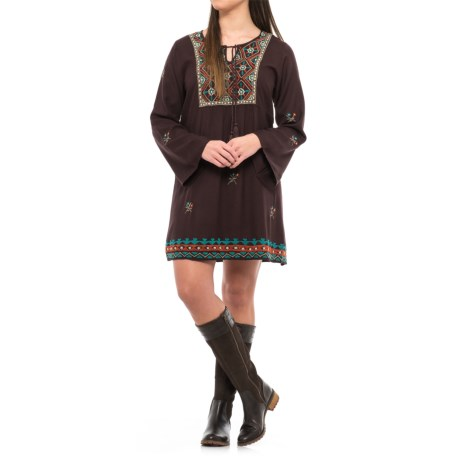 Scully Embroidered Dress - Long Sleeve (For Women) in Chocolate