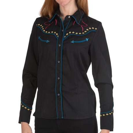 Scully Embroidered Horse Silhouette Shirt - Snap Front, Long Sleeve (For Women) in Black