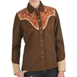 Scully Embroidered Shirt - Snap Front, Long Sleeve (For Women) in Brown