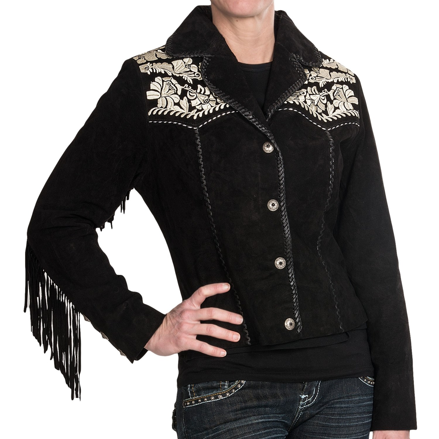 Scully embroidered suede jacket for women save