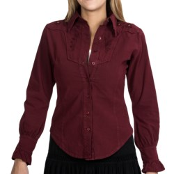 Scully Embroidered Yoke Blouse - Peruvian Cotton, Long Sleeve (For Women) in Burgundy