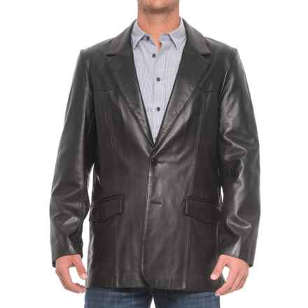 Scully Hand-Rubbed Leather Blazer (For Tall Men) in Black Lamb - 2nds