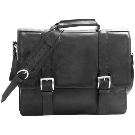 Scully Hidesign Buckle Flapover Laptop Briefcase in Black - Closeouts