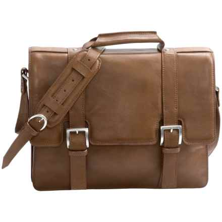 Scully Hidesign Buckle Flapover Laptop Briefcase in Tan - Closeouts