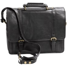 Scully Hidesign Hand-Stained Calf Leather Laptop Briefcase - Double Buckle in Black - Closeouts