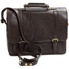 Scully Hidesign Hand-Stained Calf Leather Laptop Briefcase - Double Buckle in Brown - Closeouts