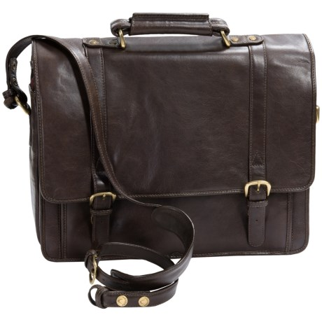Scully Hidesign Hand Stained Calf Leather Laptop Briefcase Double Buckle