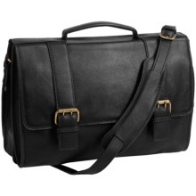 Scully Hidesign Leather Double-Buckle Laptop Briefcase in Black - Closeouts