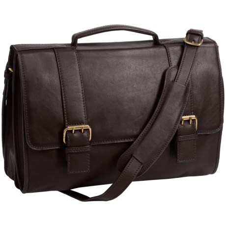 Scully Hidesign Leather Double Buckle Laptop Briefcase