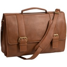 Scully Hidesign Leather Double-Buckle Laptop Briefcase in Tan - Closeouts