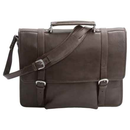 Scully Hidesign Leather Laptop Briefcase in Brown - Closeouts