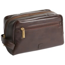 Scully Hidesign Leather Shave Kit - Side Zip Pocket in Brown - Closeouts
