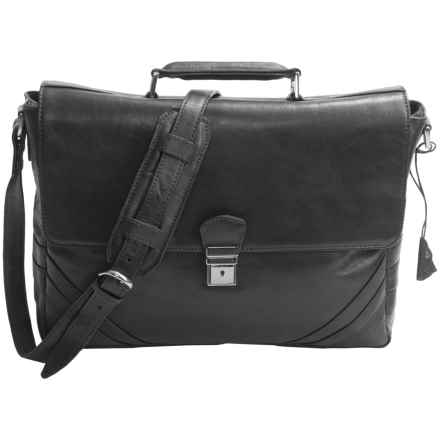 Scully Hidesign Magnetic Flap Laptop Briefcase - Leather in Black - Closeouts