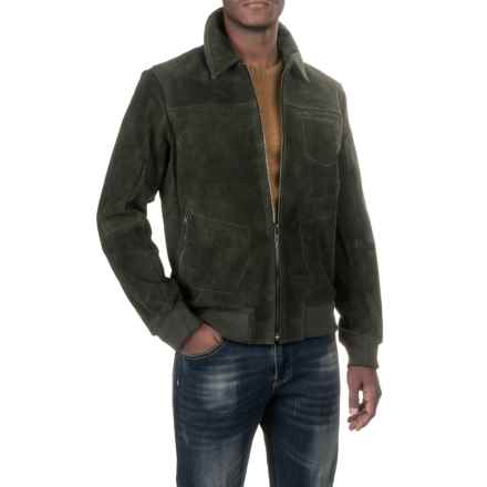Scully Knit Collar Suede Baseball Jacket (For Men) in Olive - Closeouts