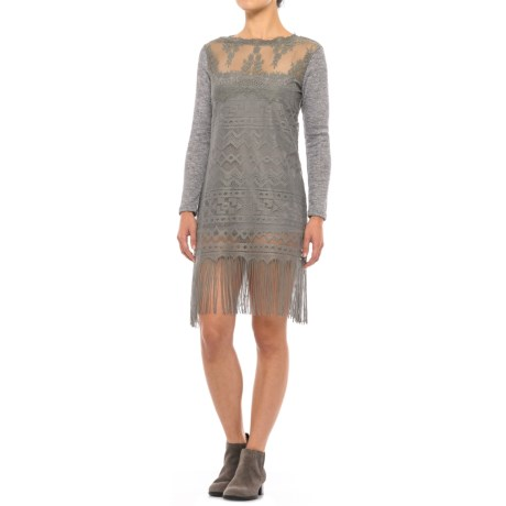 Scully Lace and Fringe Dress - Long Sleeve (For Women) in Grey