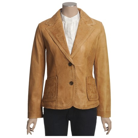Scully Lambskin Leather Jacket - Embossed Detail (For Women) in Ranch Tan